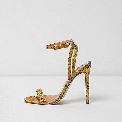 Yellow floral print barely there sandals