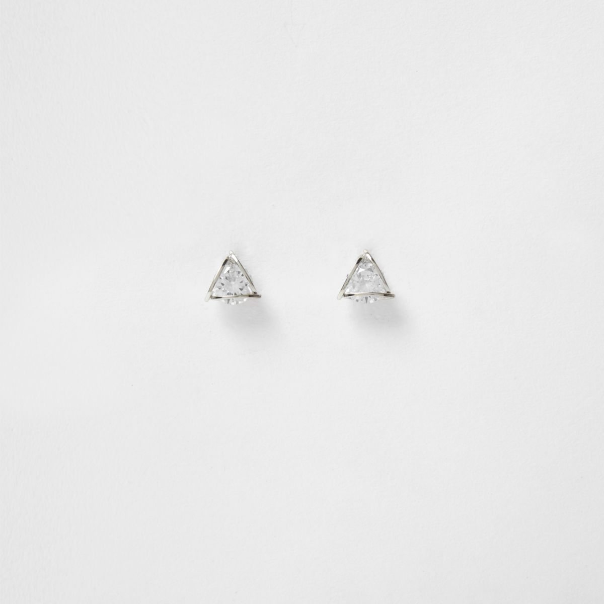 Silver tone cubic zirconia stud earrings