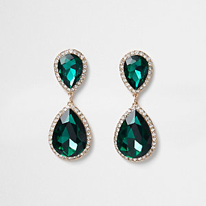Emerald green pendant dangle earrings