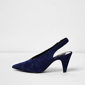 Marineblauwe suède slingback schoenen met kleine hak
