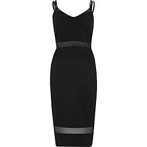 Zwarte bodyconmidi-jurk met mesh inzetstukken