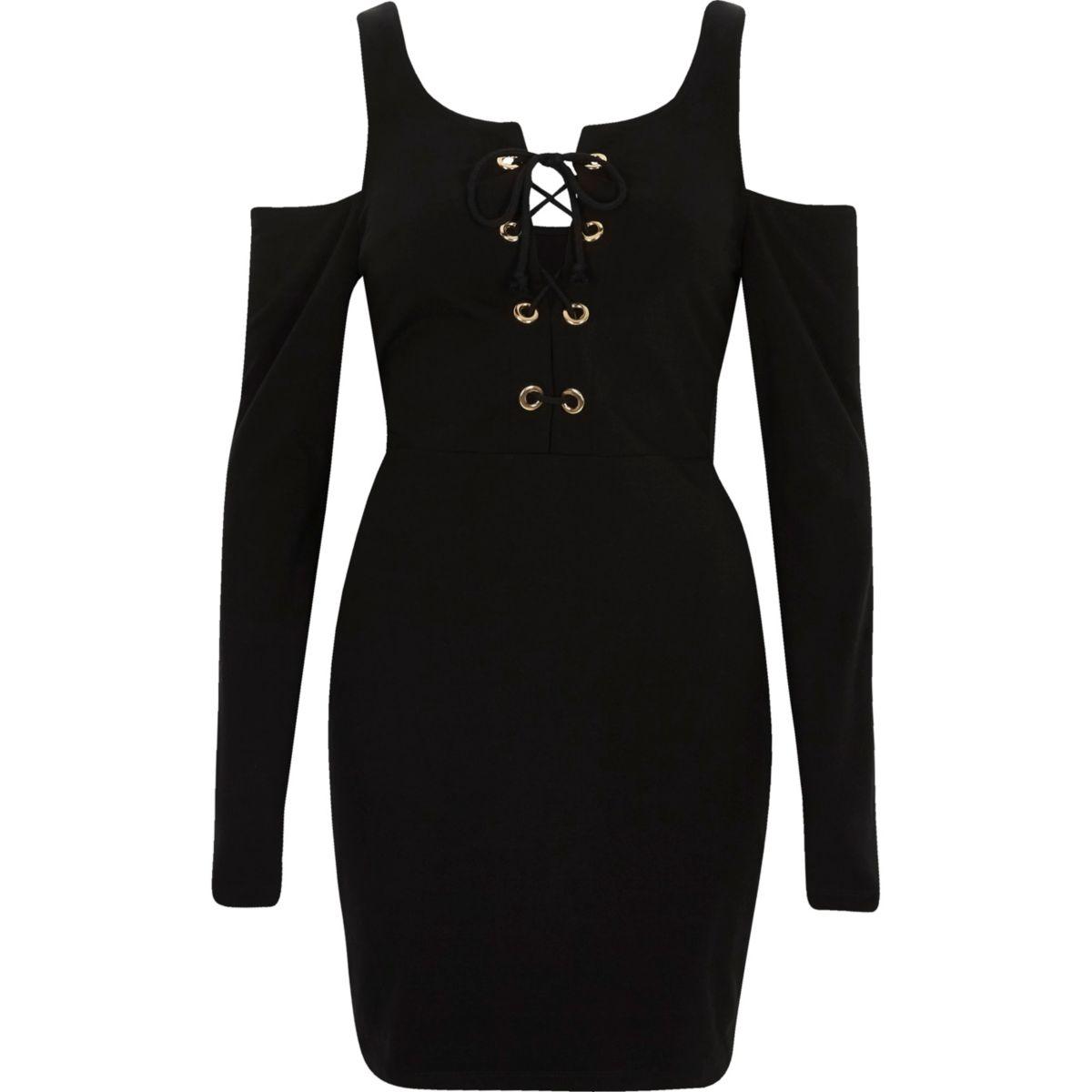 Bodycon-Kleid mit Schnürung und Schulterausschnitten