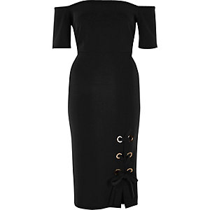 Black eyelet bardot bodycon midi dress