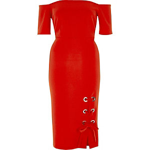Red eyelet bardot bodycon dress