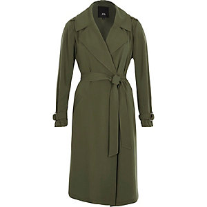 Khaki green belted duster trench coat