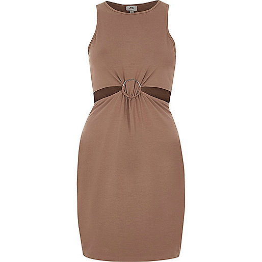 Light brown ring detail cut out bodycon dress