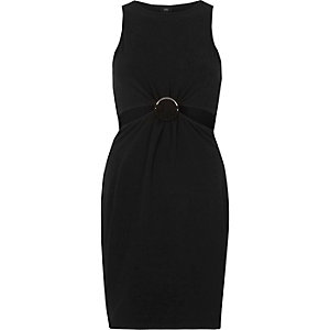 Black ring detail cut out bodycon dress