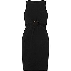 Schwarzes Bodycon-Kleid mit Zierausschnitten