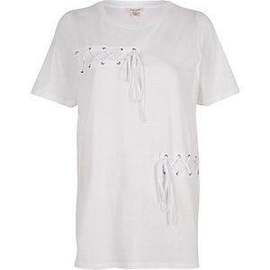 White lace-up front boyfriend T-shirt