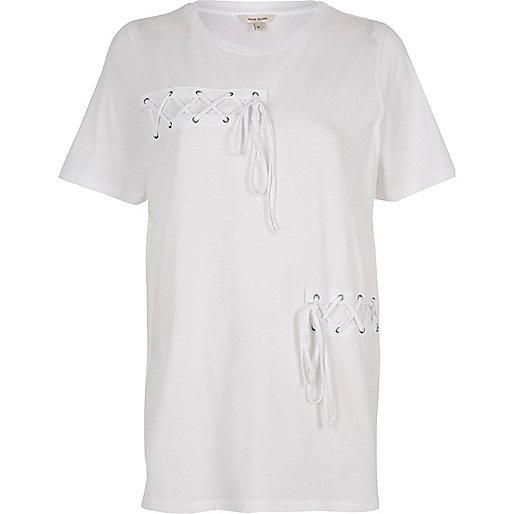 White lace-up front boyfriend T-shirt