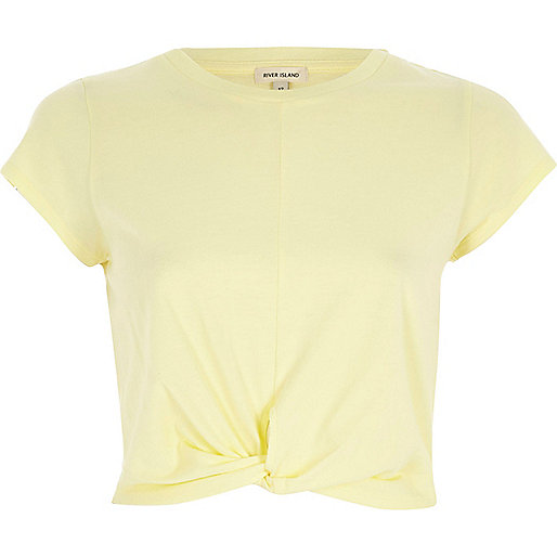 Yellow twist front crop top