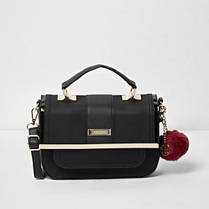 Black pom pom mini cross body satchel