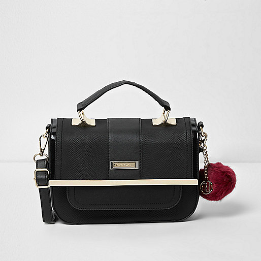 Black pom pom mini cross body satchel