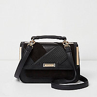 Black panel mini cross body satchel bag