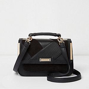 Black panel mini cross body satchel bag