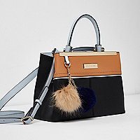 Black and tan mini tote cross body bag