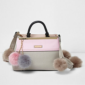 Grey and pink pom pom mini tote bag