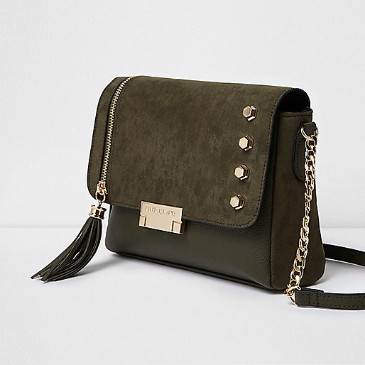 Khaki green studded tassel cross body bag