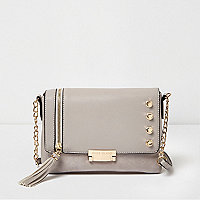 Grey stud and tassel cross body bag