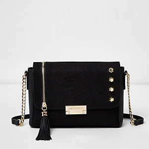 Black studded tassel cross body bag