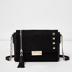 Black studded tassel cross body bag