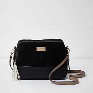 Black tassel cross body bag