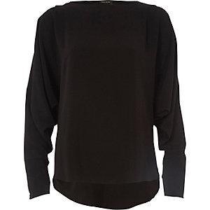 Black long sleeve batwing top