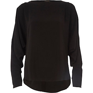Black long sleeve batwing top
