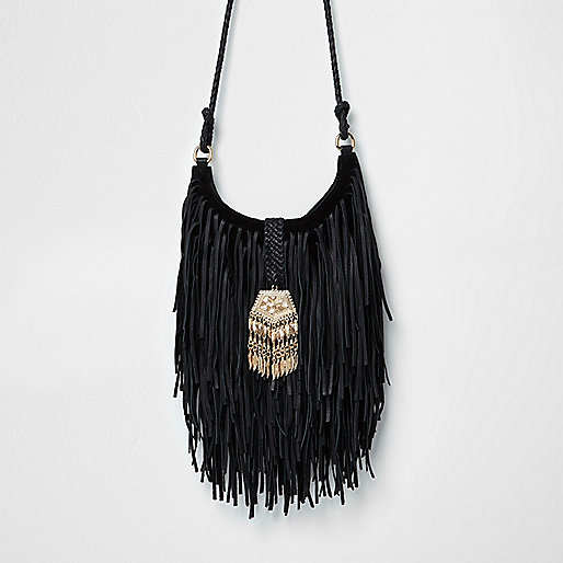 Black leather fringed cross body bag