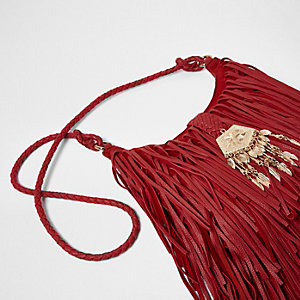 Red suede fringed cross body bag