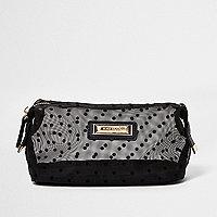 Black polka dot mesh make-up bag