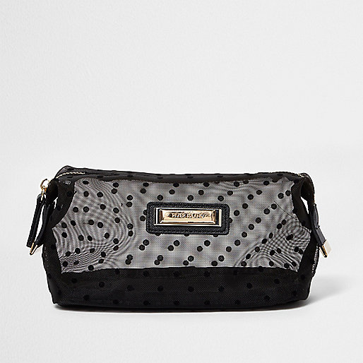 Black polka dot mesh make-up bag