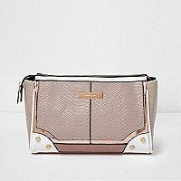 Cream panelled make-up bag
