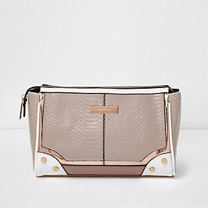Cream panelled make-up bag