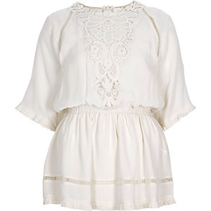 Cream crepe embroidered top