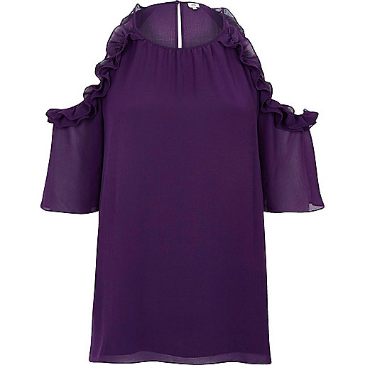 Purple frill cold shoulder blouse