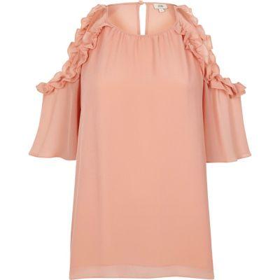 Lichtroze schouderloze blouse met ruches