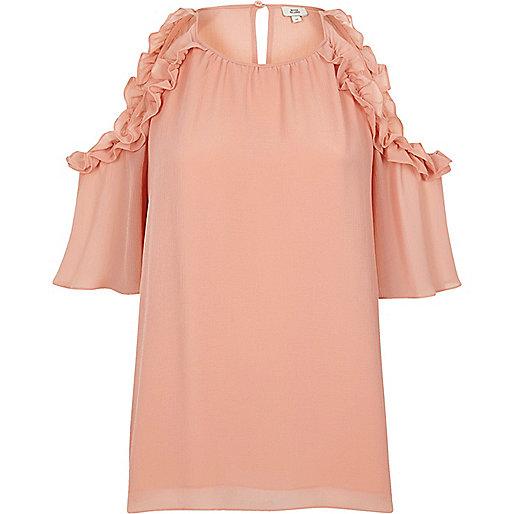 Light pink frill cold shoulder blouse