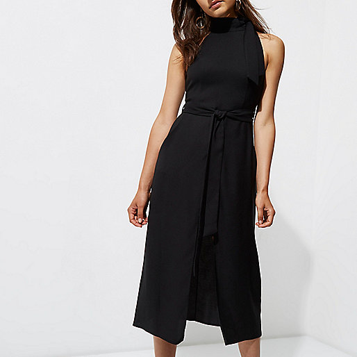 Black tie neck sleeveless midi dress