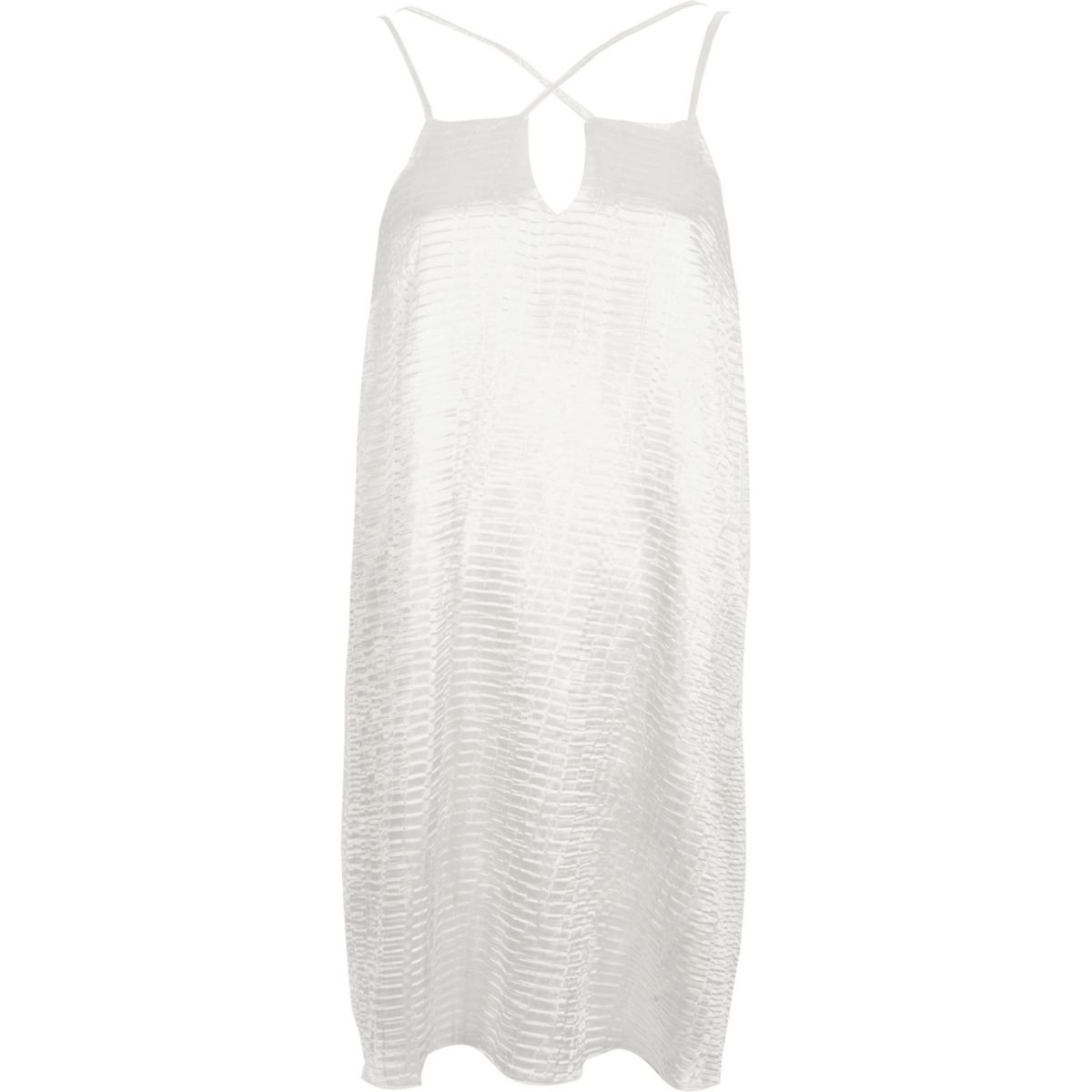 White textured satin cross strap slip dress