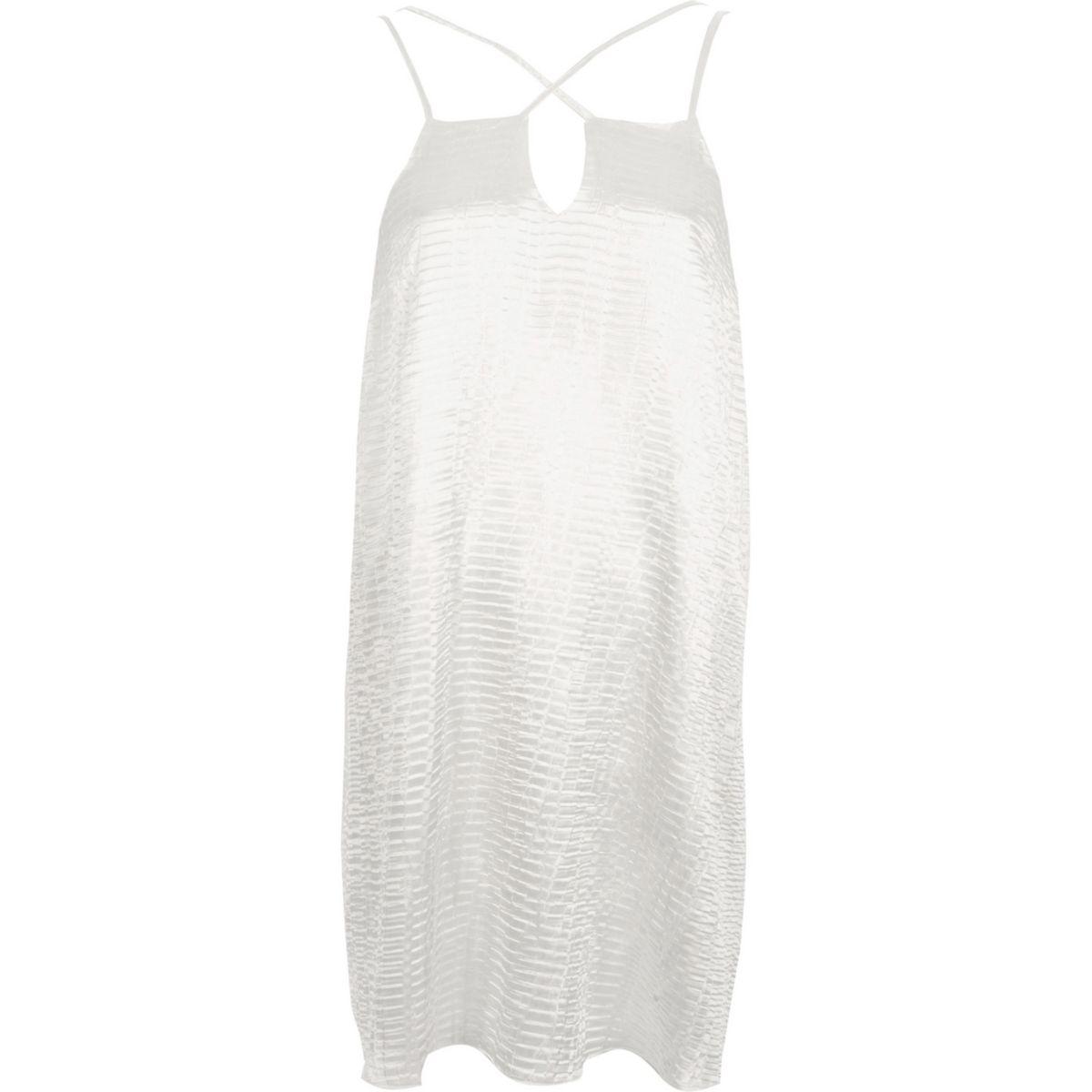 White textured satin cross strap slip dress