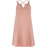 Light pink cross strap slip dress