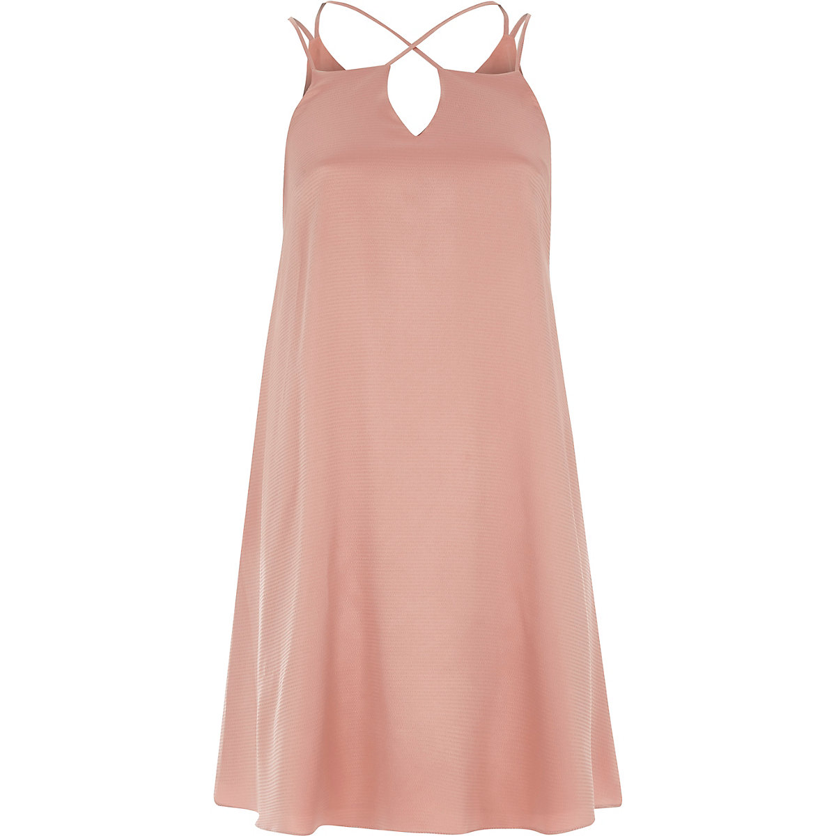 Light pink cross strap slip dress