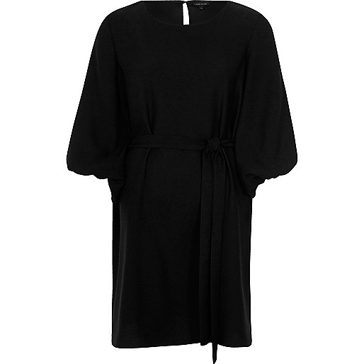 Black puff sleeve tie waist swing dress