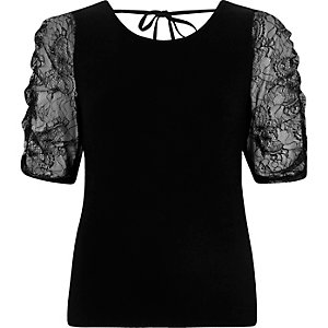 Black lace puff sleeve top