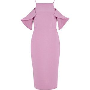 Purple cold shoulder bodycon dress