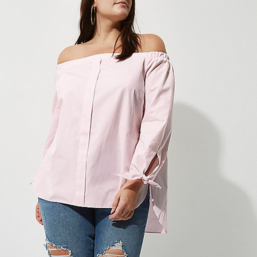 Plus light pink tie sleeve bardot shirt