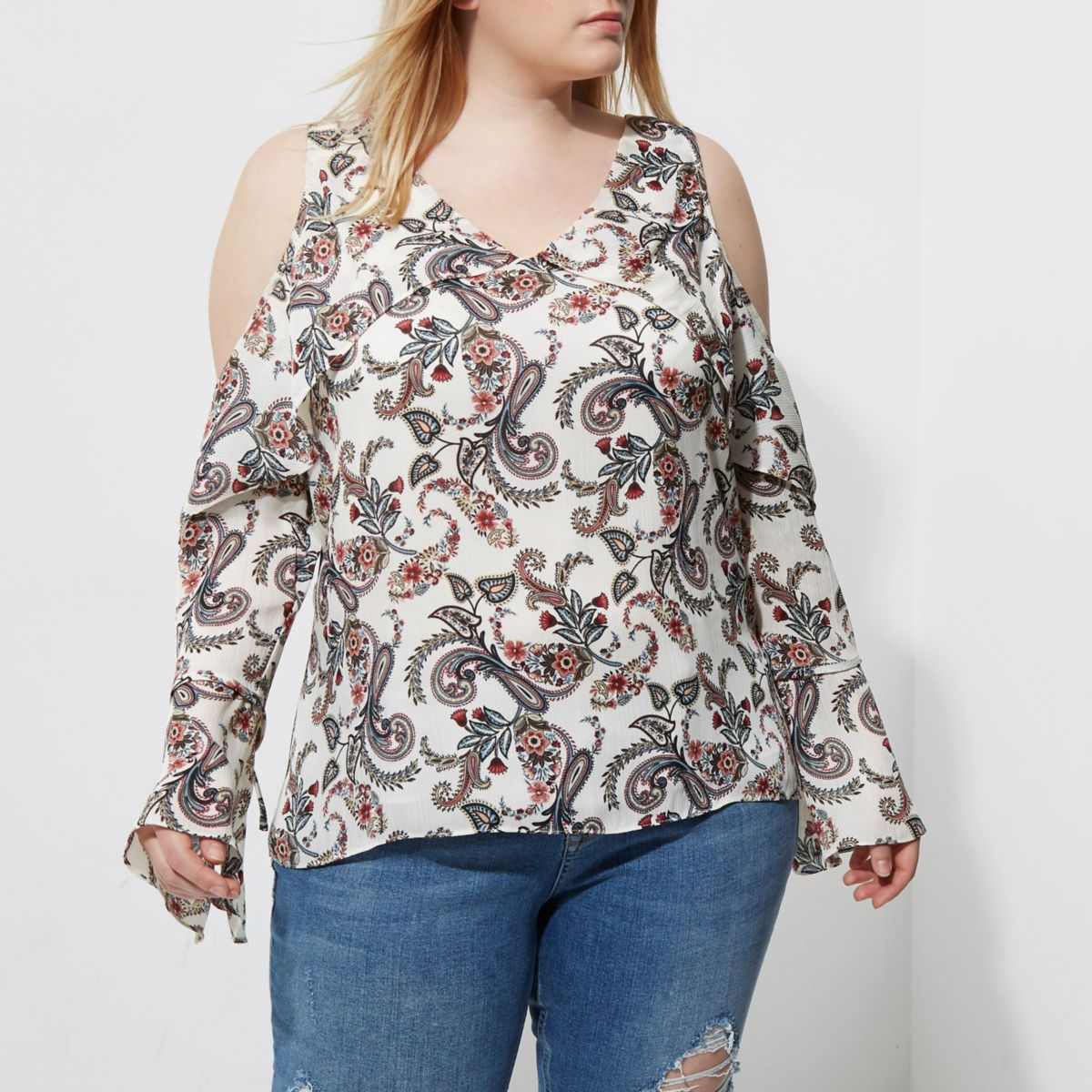 Plus grey paisley print cold shoulder top