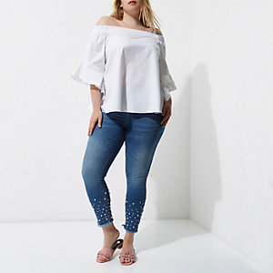 Plus white frill sleeve bardot top