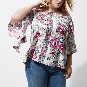 Plus – Top Bardot à fleurs rose avec volants